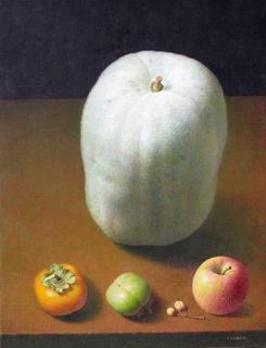 九月の柿と冬瓜と P10号.jpg